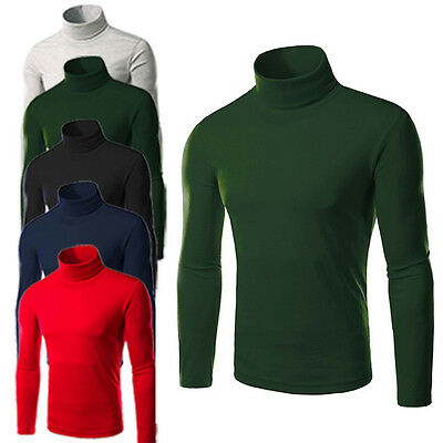 Mens Thermal Cotton Turtleneck Stretch Turtle Polo Shirt Skivvy Sweaters Tops s/