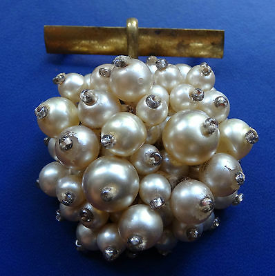vintage retro 40s 50s faux pearl bead domed flower pendant brooch c pin -C58