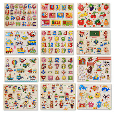 Baby Kids Wooden Animal Puzzle Jigsaw Early Learning Preschool Educational Toy