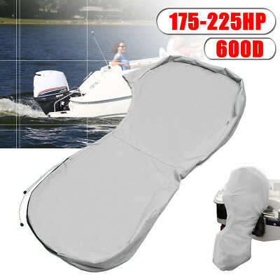 600D Ducksback Full Outboard Engine Boat Cover Fit Up 175-225HP Motor Waterproof