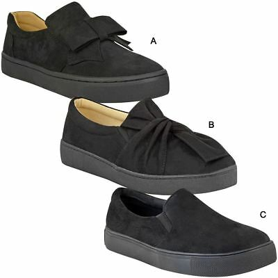 Womens Ladies Skater Trainers Slip On Thick Sole Plimsolls Shoes Pumps Size New