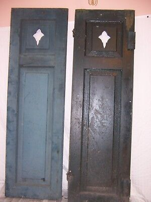 2 antique cut out window shutter victorian architectural fleur green 46x14 old