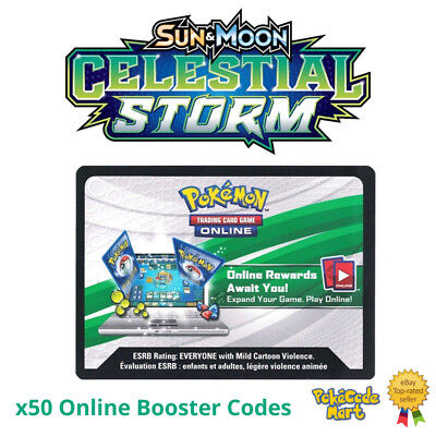 Celestial Storm Online Booster Card Codes Pokemon Sun & Moon x50 <8HR DELIVERY