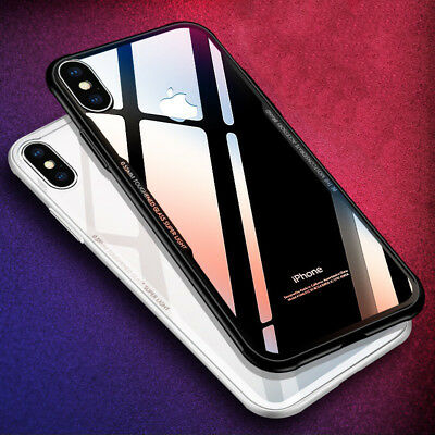 Ultrathin Clear Glass Rubber Edge Shockproof Case IPhone XS MAX XR X 8 7 6 Plus