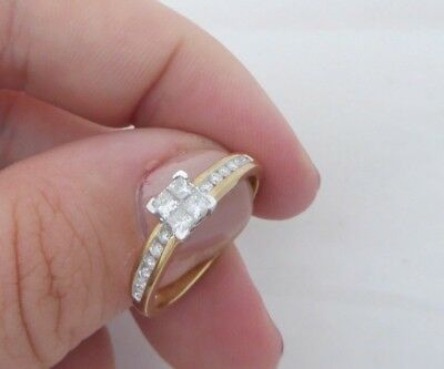 Fine 9ct gold 33 point princess cut & round diamond art deco design cluster ring