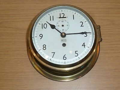 Smiths brass ship's clock case & dial with quartz movement