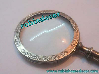 Magnifying Solid Brass Glass Antique Vintage Nautical Table Top New Item Decor