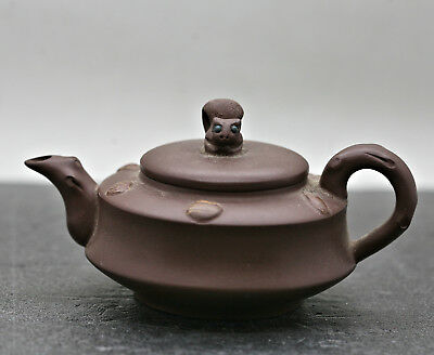 Fantastic Vintage Chinese Yixing Zisha Squirrel Teapot Made By Master 周国新 Signed