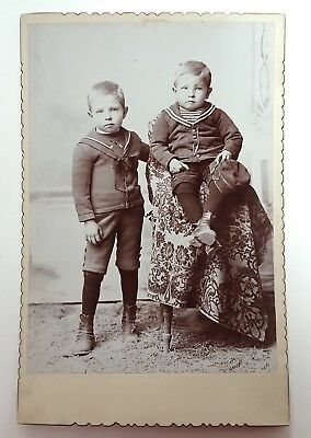 Cabinet Card Brothers in Navy Sailor Uniform Will & Barney Sanders Boys