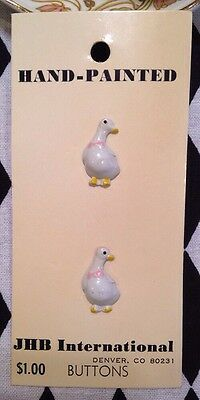 Vintage JHB International Buttons - White Geese - 1983 - NOS