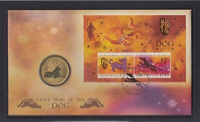 CHRISTMAS IS  2006 Year of the DOG PNC - Chinese New Year FDC with Coin .