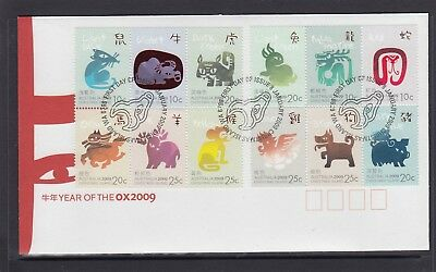 CHRISTMAS IS  2009  Year of the OX Zodiac set of 12 on FDC.