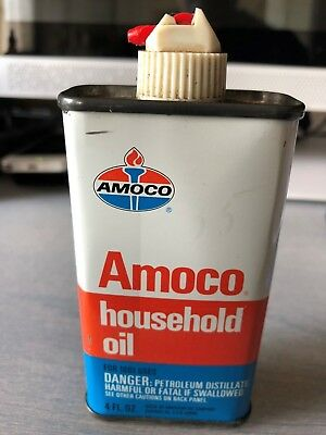 AMOCO Household Oil 4Fl. Oz. Handy Oiler Tin with Flip Spout