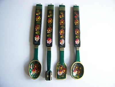 Russian Khokhloma Hand Painted Wooden Spoons Set of 4 All Different  Buy it Now