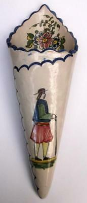 Old Hand Painted Quimper Faience Wall Pocket