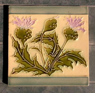 French Arts and Crafts Majolica Tube Lined, Raised Lined Thistle Tile !