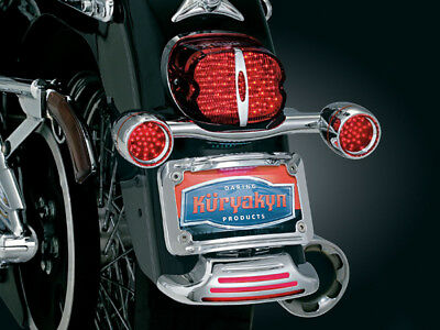 Kuryakyn 3151 Chrome Fender Tip Curved License Plate Mount 80-08 Harley Touring