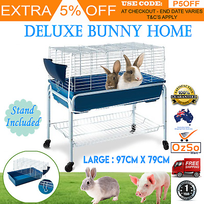 PORTABLE Rabbit Hutch With Wheels Stand Bunny Home Cage Guinea Pig Animal House