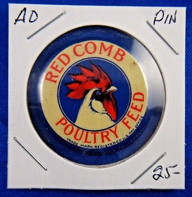 Red Comb Poultry Feed Trade Mark Advertising Pin Pinback Button 1.25""
