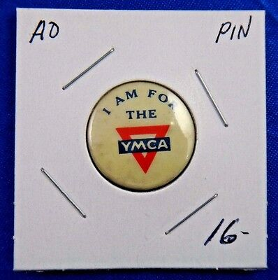 "I Am For The YMCA Advertising Pin Pinback Button 13/16"" International Committee"