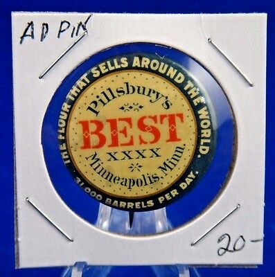 Pillsbury's Best The Flour That Sells Around The World Ad Pinback Button 1 1/4""