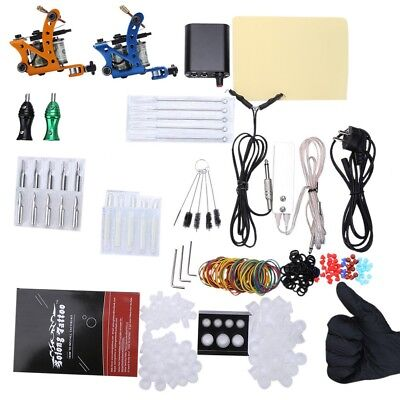 Pro Electric 10 Warps Coils Complete Tattoo Kit Power Supply 2 Top Machine Guns
