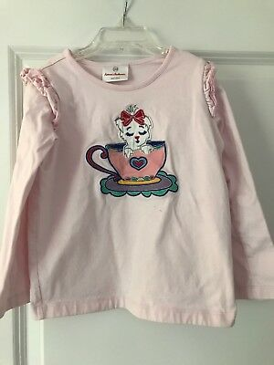 HANNA ANDERSSON Girls Pink Tea Cup/ Puppy Shirt Size 100/ 4T Long Sleeve