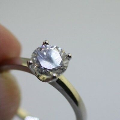 VINTAGE silver plated clear stone solitare sparkle 7mm ring size 7