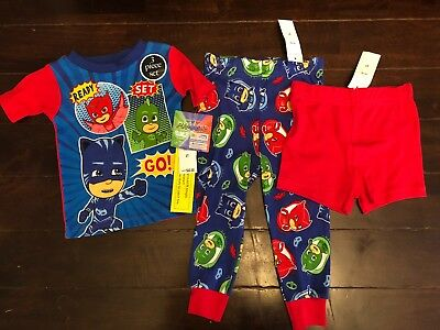 PJ Masks Pajamas Sz 2T Sleep 3 Piece Set Shorts Pants Boys