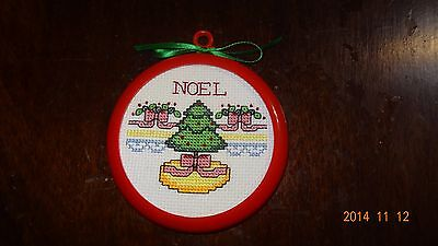 Finished Cross Stitch Christmas ornament of Christmas tree NOEL