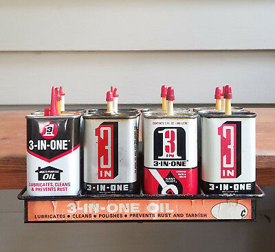Vintage 3-in-One Clamp-On Hdwr Store Display Rack w Doz. 3 oz Handy Oiler Cans