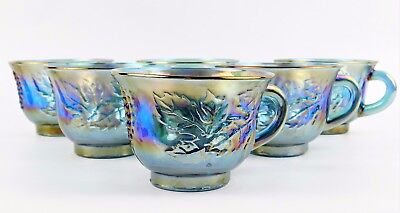 Vintage Indiana Blue Carnival Glass  Cups Harvest Grape Lot of 6