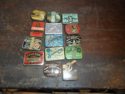 14 Gramophone Phonograph needle tins some with some needles
