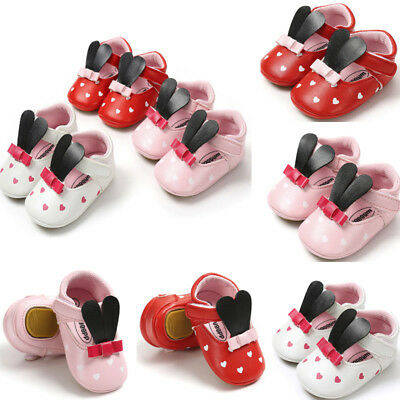 Newborn Infant Baby Girl Comfy Rabbit Ears Toddler First Walkers Kid Shoes