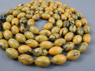Vintage Art Deco Knotted Yellow & Green Celluloid Olive Bead Flapper Necklace
