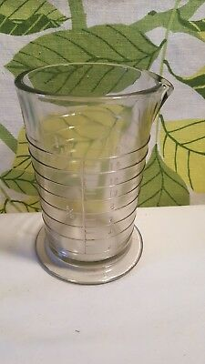 Vintage 1930s Apothecary Large Glass Footed Measuring Beaker