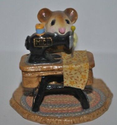 Wee Forest Folk WFF MISS BOBBIN Yellow Dress Figurine 1979 M-040 Missing Wheel
