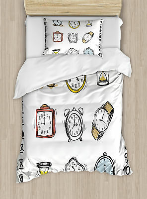 Clock A Collection of Vintage Watches Hand Drawn Illustration Duvet Set