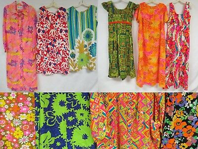 Lot of 10 Vintage 60s 70s Dress Hawaiian Psychedelic Floral Barkcloth Maxi Beach