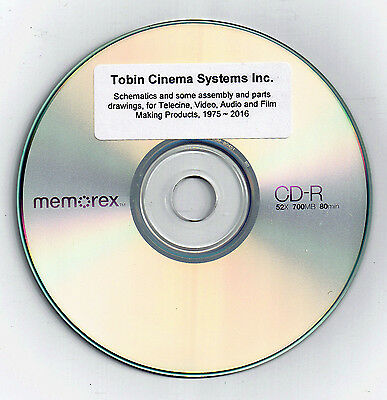 TOBIN CINEMA SYSTEMS Instructions,Schematics-Telecine,Crystal Mot, Free Ship USA