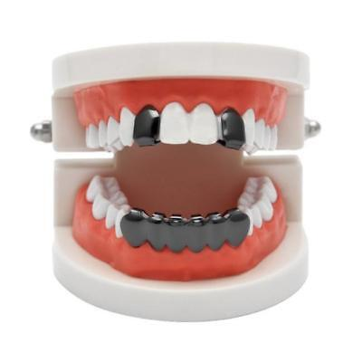 Halloween Silver Gold Plated Hollow Teeth Grillz Top & Bottom Grill Set 8C