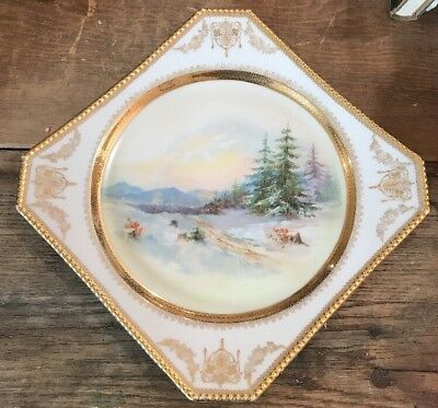 C.T. Altwasser Silesia Germany Huge Hand Painted Plate Winter Christmas Gold