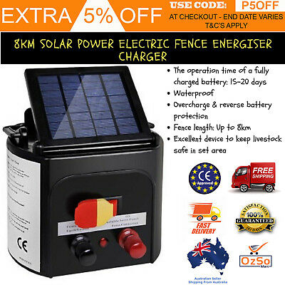 New 8Km Solar Power Electric Fence Energizer Charger Farm Pet Animal livestock