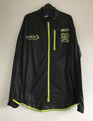 Official Hull FC Rugby League Running Training Jacket XL Black/Neon Excellent