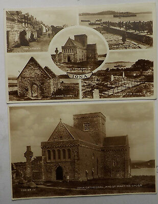 FOUR VINTAGE POSTCARDS IONA  Cathedral St Martins Cross Spouting Cave