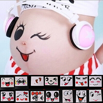 Women Photo Pregnant Body Belly Stomach Souvenir Photo Sticker Props Tattoo_FJ
