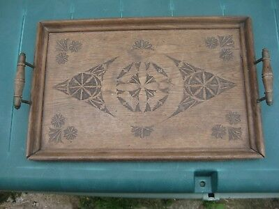 Antique Wooden Engraved Tray With Handles