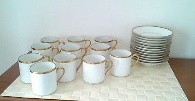 Limoges Raynaud service cafe 11 tasse litron-11soucoupe décor blanc or