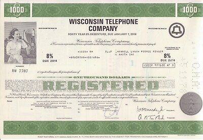 1978 $1000 bond Wisconsin Telephone Company w/ printed Regan signature