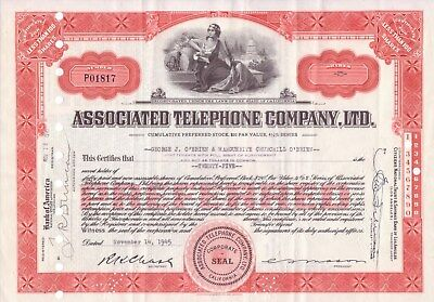 4 different Associated Telephone Company stock certificates